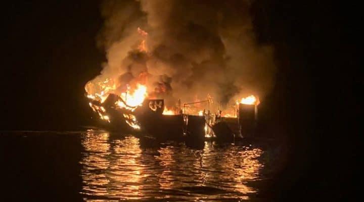 Dive boat Conception on fire at night near Santa Cruz island