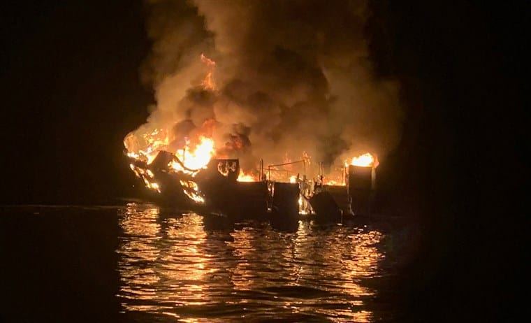 Dive boat Conception on fire at night near Santa Cruz island